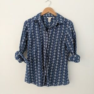 Sundance • Blue Eyelet Button Down